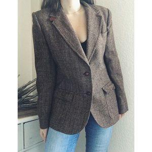 V I N T A G E  》Tweed Wool Blazer Elbow Patches
